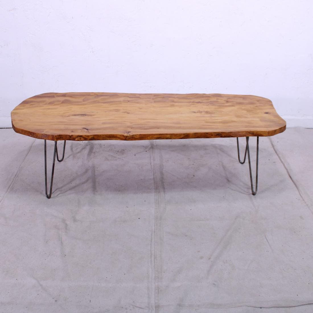 Vintage Live Edge Coffee Table on Hairpin Legs