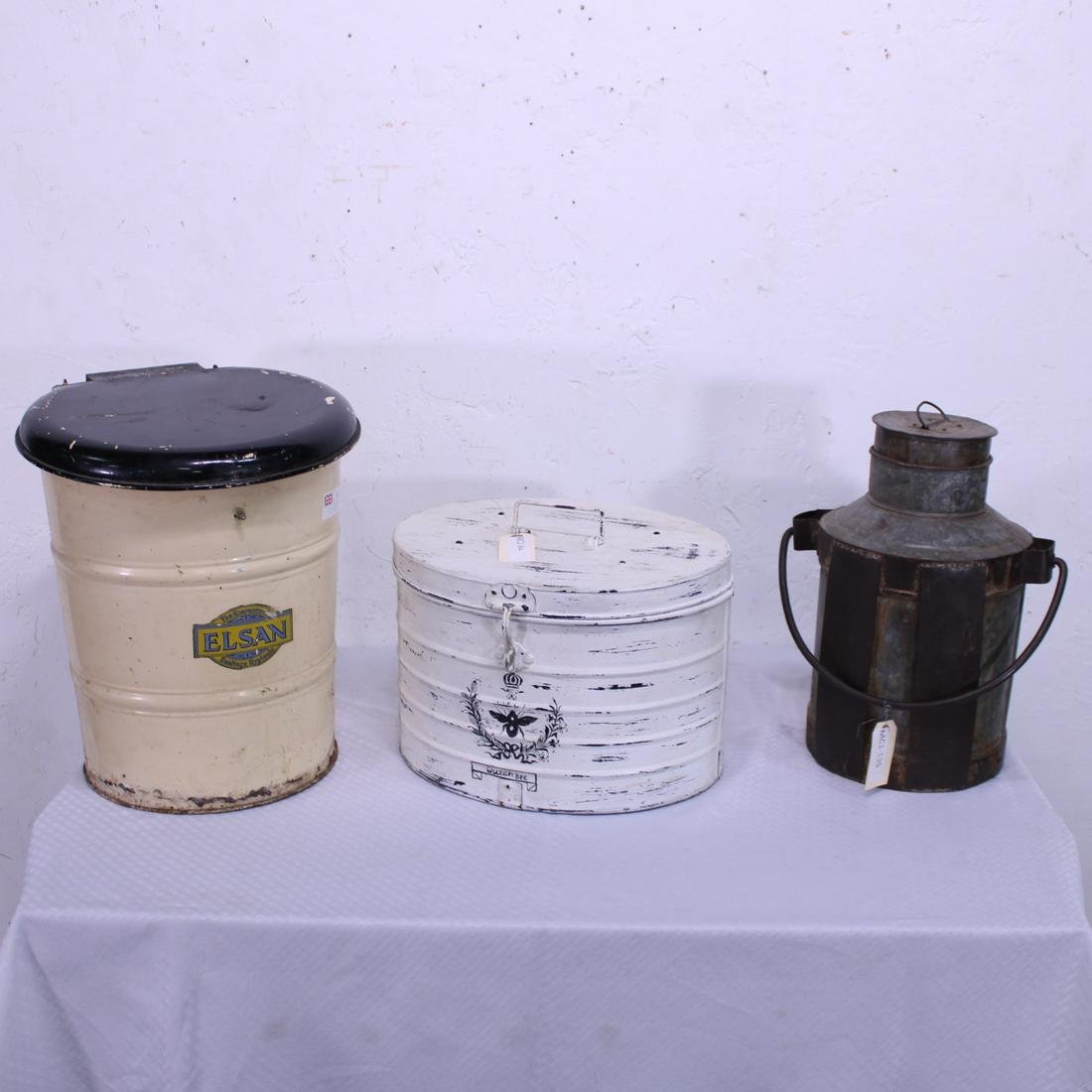 3pc Metal - Hat Box, Milk Can, Trash Can