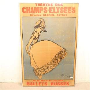 French framed poster by Jean Cocteau - Ballets Russes,
