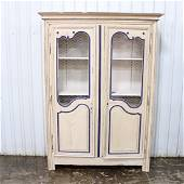 Louis XIV French Painted Bookcase - Wire Door Panels in