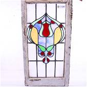 British Stained Glass Window - Deco Rose Pattern