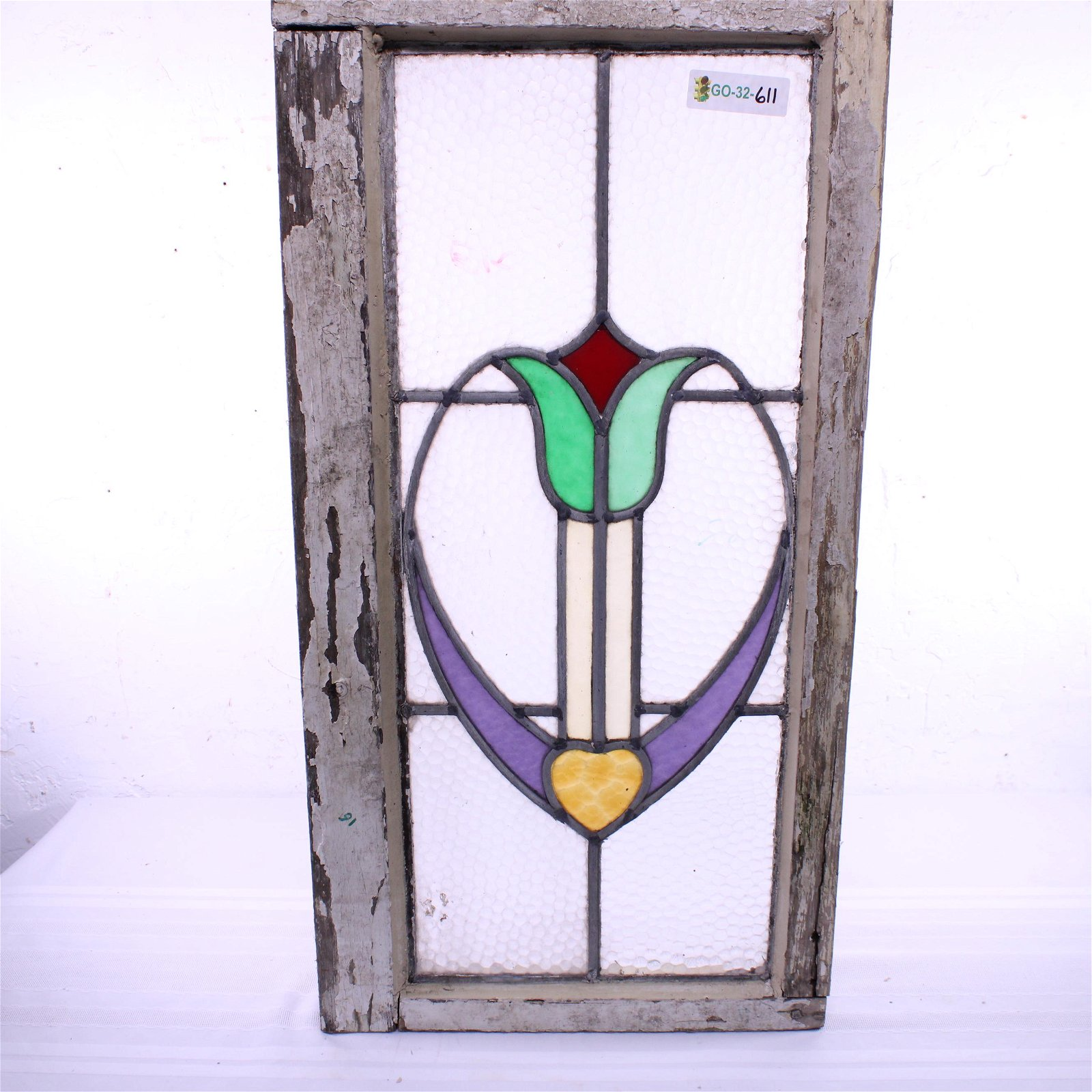 British Stained Glass Window - Deco Floral Pattern