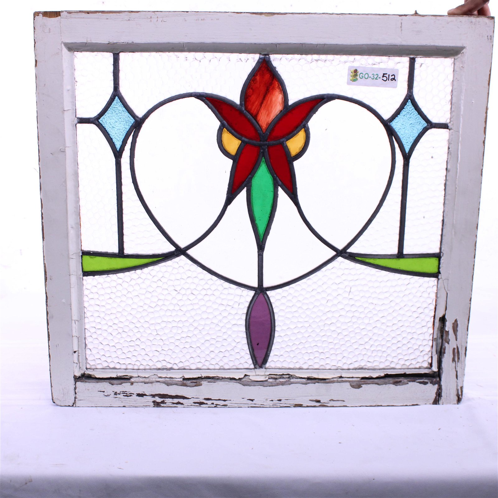 British Stained Glass Window with Floral Center