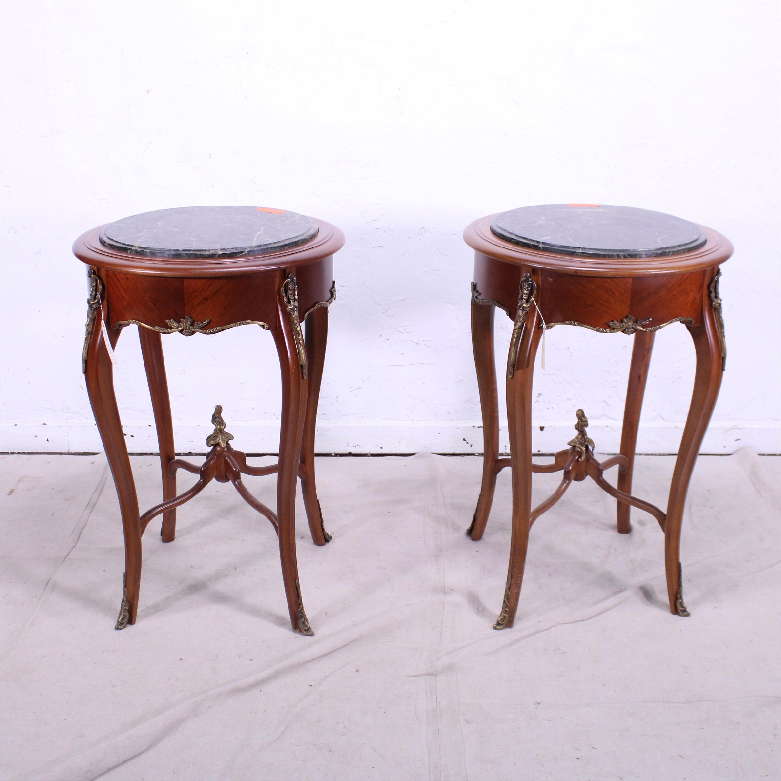 Pair Round Green Marble Top Lamp Tables
