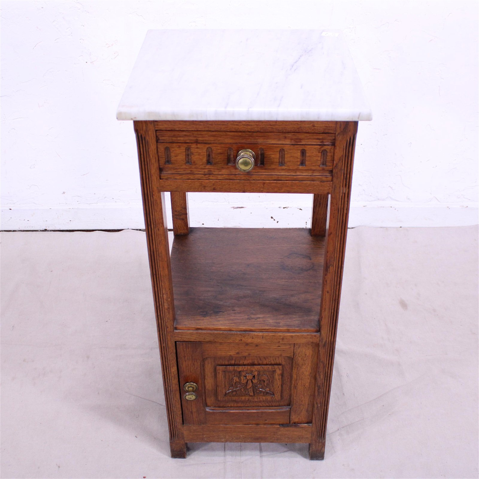 White Marble Top Nightstand c.1930