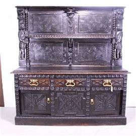 Large Carved Oak High Back Sideboard C. 1680