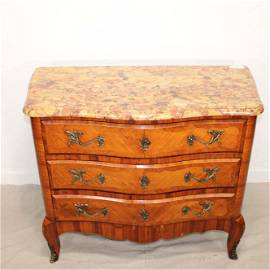 Louis XV Style Inlayed Mahogany Marble Top Chest