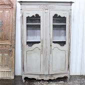 French Louis XV Style Painted Bookcase with Wire Doors