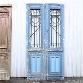 Vintage Blue Doors with Metal  From Mediterranean Area