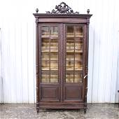 Carved French Bookcase with Beveled Glass Panes