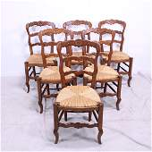 Set of 6 Country French Ladder Back Rush Seat Chairs