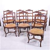 8 Country French Ladder Back Rush Seat Dining Chairs