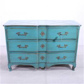 Turquoise Painted French Three Drawer Chest