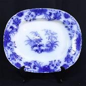 Flow Blue Platter - Carlton - Samuel Alcock - C1850