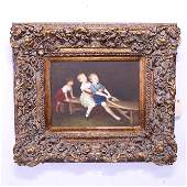 Framed Oil On Canvas - Three Children Playing