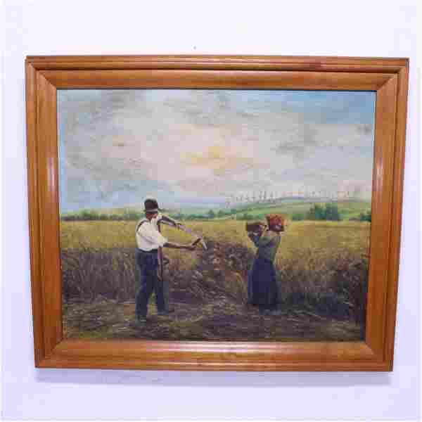 Framed European Oil on Canvas - Farm Scene