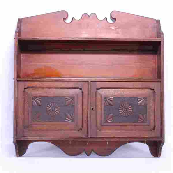 Early American Wall Cabinet with Pokerwork Doors