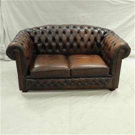 Brown Leather Hump Back Chesterfield Loveseat