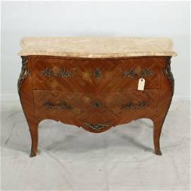 French Louis XV Style Bombay Inlayed Mahogany Chest
