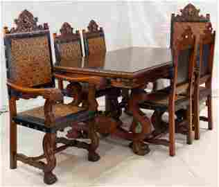 Carved Spanish Style Table & 6 Chairs