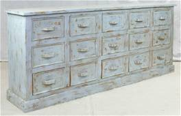 Large Distressed Light Blue Painted Bank Of Drawers