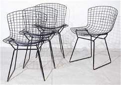 Set of 4 Black Bertoia Wire Dining Chairs by Knoll #1