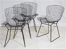Set of 4 Black Bertoia Wire Dining Chairs by Knoll #2