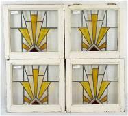 4 British Stained Glass Windows - Deco Sunburst
