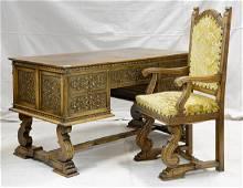 French Renaissance Style Desk  & Armchair
