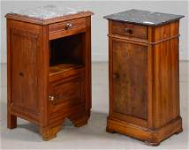 2 French Marble Top Pot Cupboards / Nightstands