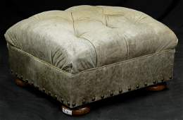 Button Tufted Leather Chesterfield Style Ottoman