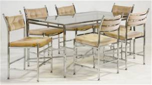Mid Century Modern Metal & Glass Dining Table & Chairs