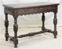 Dark Carved British Oak Hall Table