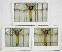 Trio British Stained Glass Windows - Floral With