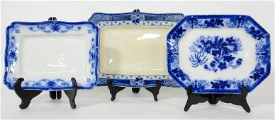 3 Assorted Size Blue / White Platters