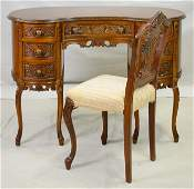 Carved French Style Kidney Shaped Desk & Chair