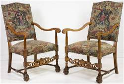 Pair French Carved Hunt Arm Chairs With Claw Feet