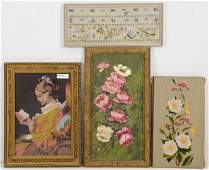 4pcs - Needle Point, Stitching, Floral & Butterflies