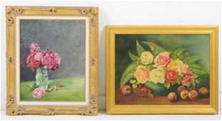 2 Gold Framed Floral Oil On Canvas / Board Still Life