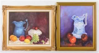 2 Gold Framed Oil On Canvas Still Lifes  Fruit