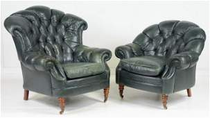 Pair Green Lather Chesterfield Button Tufted Chairs