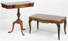 Mahogany Flip Top Table & Burlwood Coffee Table