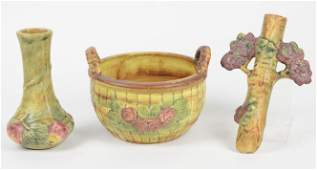 3pcs Weller Pottery  Vase Bowl  Wall Pocket