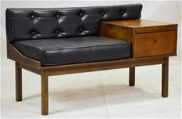 Mid Century Modern Upholstered Phone Bench