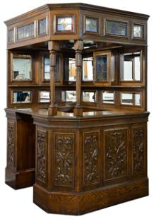 Carved Canopy Corner Pub Bar With Stained Glass