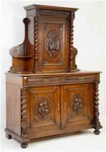 Carved Oak Barley Twist Hunt Cupboard
