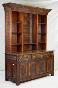 Heavily Carved British Oak Dresser / Cupboard