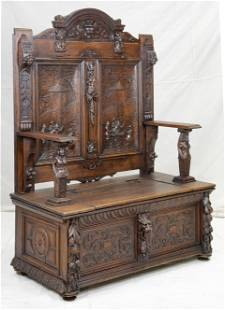 Carved Renaissance Revival 19th Century Hall Bench