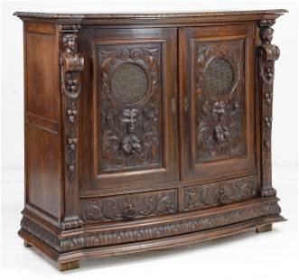 Figural Carved Oak Renaissance Revival Server