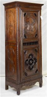 French Breton Carved Single Door Robe / Vitrine